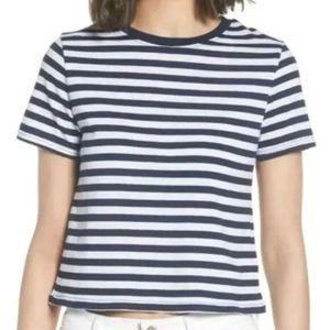 Topshop Blue & White Strip Crop T-shirt